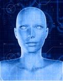 cara 3D fêmea com a folha de prova da codificação da tecnologia ilustração stock