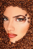 Cara da beleza da mulher do café Foto de Stock Royalty Free