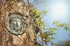 Cara da coroa de Jesus Christ do thornsFragment da estátua antiga fotografia de stock