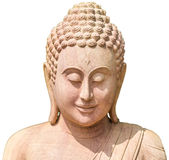 Cara da imagem da Buda feita do sandsyone, isolado no branco Imagens de Stock Royalty Free