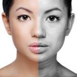 A cara da jovem mulher antes e depois de retoca fotos de stock royalty free