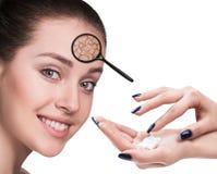 Cara da jovem mulher com pele seca Fotografia de Stock