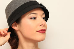 A cara da jovem mulher no estilo do vintage Foto de Stock