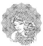 Cara da menina consideravelmente elegante do boho com a grinalda floral no fundo excelente da mandala ilustração royalty free