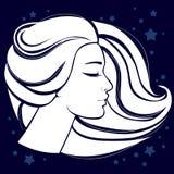 A cara da menina na silhueta do branco do perfil ilustração royalty free