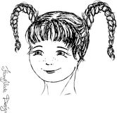 Cara da menina pintada à mão, ilustração do vetor Fotografia de Stock