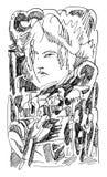 Cara da moça e mundo abstrato ilustração do vetor