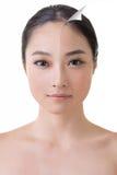 A cara da mulher asiática bonita antes e depois de retoca fotos de stock royalty free