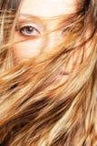 Cara da mulher atrás do cabelo do vôo Imagens de Stock