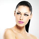 Cara da mulher bonita com composição da forma Imagens de Stock