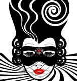 imagem de uma dama no máscara-alvo ilustração stock