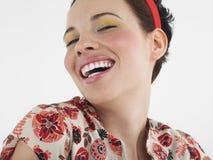 A cara da mulher com composição da forma ao rir imagens de stock