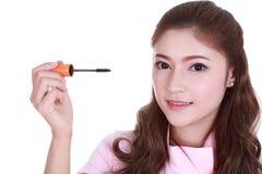 Cara da mulher com escova do rímel Foto de Stock