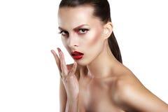 Cara da mulher da beleza do retrato Girl modelo bonito com pele limpa fresca perfeita Mulher do retrato da juventude e da pele Ca Imagem de Stock