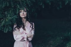 A cara da mulher de Overed com uma planta fotos de stock
