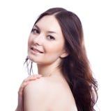 Cara da mulher do beautyl com composição fotografia de stock