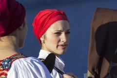Cara da mulher em trajes sardos Fotos de Stock Royalty Free