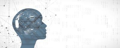 Cara da mulher da inteligência artificial com o conection social da rede Todo o mundo em seu cérebro Imagens de Stock