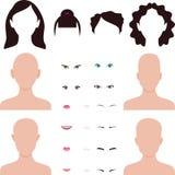 A cara da mulher parte os bordos, os olhos e o cabelo ilustração stock