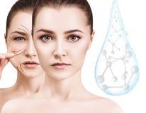Cara da mulher perto da gota da água com moléculas rendição 3d fotografia de stock royalty free