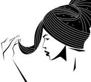 Cara da mulher da vista lateral no modo preto e branco da cor ilustração do vetor