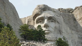 A cara de Abraham Lincoln no Monte Rushmore imagens de stock royalty free