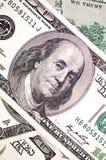 Cara de Benjamin Franklin en cuenta de dólar Fotografía de archivo