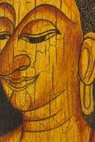 Cara de buddha, estilo tailandês pintado na madeira Imagem de Stock Royalty Free