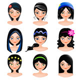 Cara de desenhos animados das mulheres Fotografia de Stock Royalty Free