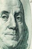 Cara de Franklin (cientos dólares) Foto de archivo libre de regalías