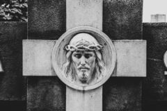 Cara de Jesus Christ no monumento fotos de stock