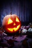 Cara de la calabaza de Halloween de las linternas de Jack o Imágenes de archivo libres de regalías