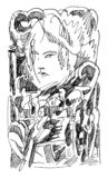 Cara de la chica joven y mundo abstracto ilustración del vector