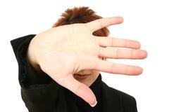 Cara de la cubierta de la mano Fotografía de archivo