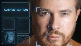Cara de la exploración del sistema informático de un hombre Clip relacionado de la autentificación de Digitaces almacen de video