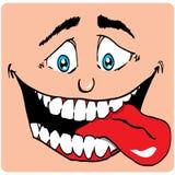 Cara de la historieta del hombre con una boca grande Imágenes de archivo libres de regalías
