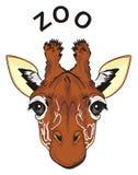 Cara de la jirafa y de la palabra negra Foto de archivo libre de regalías