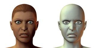 cara de la muchacha 3D con la emoción ilustración del vector