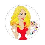 Cara de la muchacha de la belleza con el esmalte de uñas colorido avatar Imagen de archivo libre de regalías