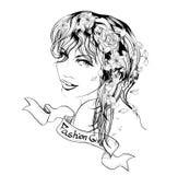 Cara de la muchacha de la belleza en un fondo blanco Fotos de archivo libres de regalías