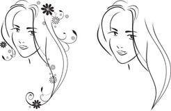 Cara de la muchacha bonita joven ilustración del vector