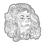 Cara de la muchacha con el cráneo del azúcar o el maquillaje de Calavera Catrina y rosas aisladas en blanco Vector el ejemplo par Imagen de archivo