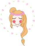 Cara de la muchacha de la guirnalda de la flor Imagen de archivo libre de regalías