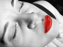 Cara de la muchacha de la manera - boca roja Imágenes de archivo libres de regalías