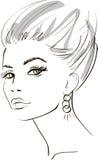 Cara de la muchacha. elementos del diseño. Ilustración del vector Imagenes de archivo
