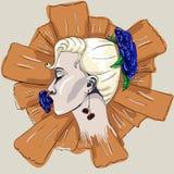 Cara de la muchacha en flores Fotos de archivo libres de regalías