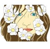 Cara de la muchacha en flores Fotografía de archivo