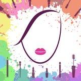 Cara de la muchacha hermosa Icono de Fashion del artista de maquillaje Cara de la mujer Componga los elementos Plantilla del logo Fotografía de archivo
