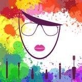 Cara de la muchacha hermosa Icono de Fashion del artista de maquillaje Cara de la mujer Plantilla del logotipo Imagenes de archivo