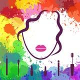 Cara de la muchacha hermosa Icono de Fashion del artista de maquillaje Cara de la mujer Plantilla del logotipo Componga los eleme Imagenes de archivo